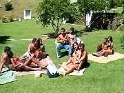 Guys n ts do orgy on lawn