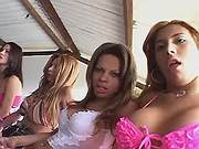 Straight girl n tgirls arrange orgy