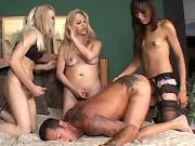 Hot shemales fuck poor guy by turns
