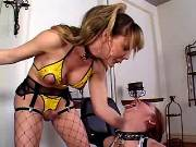 Beauty tranny dominating above girl
