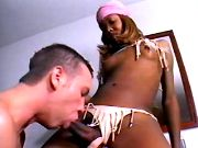 Freak sucks ebony tranny