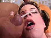 Young shemale cums and gets facial
