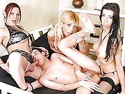 Matthias gets ass-fucked in his first transexual gang-bang!