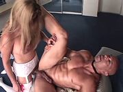 Shemale gets blowjob and fucks guy