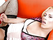 Cute Golden-haired Transsexual With Stockings Jerking Off